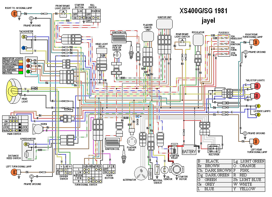 xs400 wiring diagram simplified fz700 wiring diagram